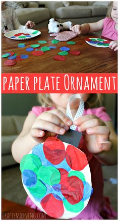 Paper Plate Christmas Ornament Craft #TissuePaper #Christmas craft for kids to make | CraftyMorning.com