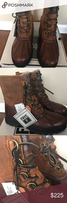 Frye boots Those boots are absolutely amazing . Great for all weather conditions . Shearling inside . Super warm , yet quite stylish . Brand new with tags , in a box. Frye Shoes Rain & Snow Boots