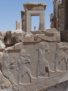 Bas Relief at Apadana Palace - Persepolis - Central Iran by Adam Jones on Ancient Near East, Ancient Ruins, Ancient Art, Ancient Egypt, Ancient History, Persian Architecture, Ancient Architecture, Ancient Mesopotamia, Ancient Civilizations