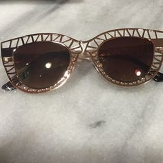 Cat Eye Caged Gold Sunglasses Brand new - !! Accessories Sunglasses