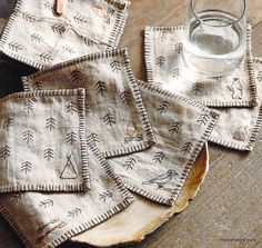 Embroidered Linen Forest Coasters