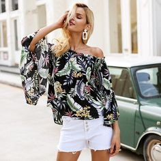 b78c147e45519 Off Shoulder Floral Print Flare Sleeve Bohemian Casual Blouse