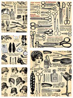"""Set name: """"Vintage hairdresser design elements"""" for Adobe Illustrator."""