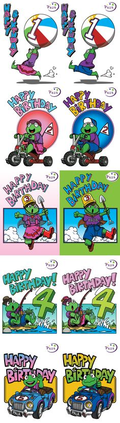 Children's birthday cards I did for work, designed for both genders. Might post more work related stuff down the line.