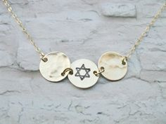 Three disc necklace Gold Star of David stamped on by saragalstudio