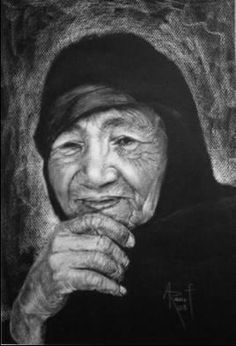Portrait for and old woman - Painting,  35x50 cm ©2004 by Abdel Raouf Abdel Khalek -  Painting, Oil