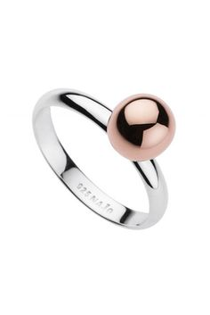 Najo Shine Rose Gold & Sterling Silver Womens Ring. A rose gold plated sterling silver orb takes center stage with this radiant statement ring, perfect for every occasion.