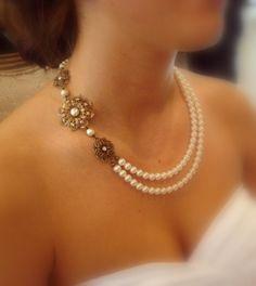 Vintage style bridal necklace, wedding jewelry with Swarovski ivory pearls, golden shadow crystals, wedding necklace, antique brass necklace...