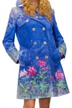 Пальто замшевое с кожаной аппликацией и росписью цветы лилии