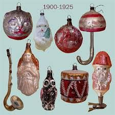 Glass Christmas ornaments ,1900-1925.