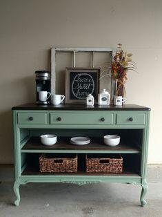 Antique dresser turned coffee bar