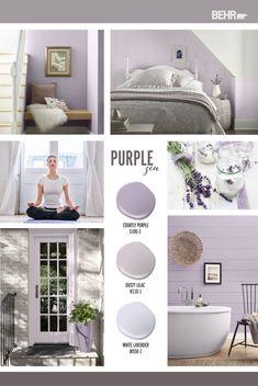 Purple Bedroom Paint, Grey Purple Paint, Calming Bedroom Colors, Calming Paint Colors, Zen Colors, Purple Rooms, Paint Colors For Living Room, Paint Colors For Home, Purple Hues