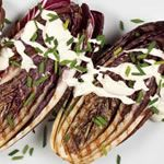 Grilled Radicchio with Goat Cheese Fondue Dressing - Eating in Season