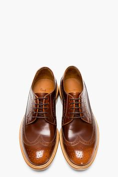 PAUL SMITH  Brown leather LINCOLN longwing brogues