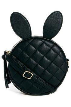 ROMWE   Diamond Shape Rabit Hair Black Bag, The Latest Street Fashion