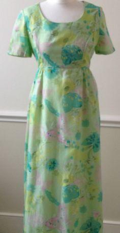 VINTAGE MAXI DRESS 1970S FLORAL & BUTTERFLIES GREEN PINK FESTIVAL FLOWER POWER