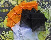 Organza Bags 3x4 inch 30 multi color Halloween pumpkin orange, black, white #OrganzaBags #HalloweenPumpkin #BeutifulAdditions