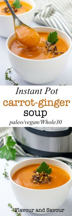 This Instant Pot Carrot Ginger Soup is velvety smooth, and subtly flavoured with ginger and orange. It has a hint of sweetness from apples. It's free of dairy and gluten and is vegan and paleo.#InstantPot #carrot #ginger #soup #vegan #paleo