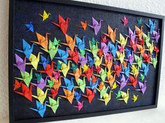 Défi février : Le vol des 100 grues (tableau collage origami)