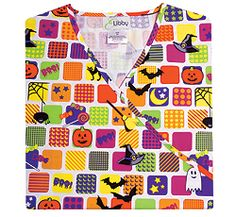 """Sale E. Libby Halloween Squares Mock Wrap Top - Scrub Tops - Marcus Uniforms Pricing: XS, S, M, L, XL, 2X, 3X $12.99$9.99 Description: 60/40 Cotton/Polyester. Mock wrap top with set-in sleeves, two lower pockets and side slits. 27"""" length. Coordinates with Black, Grape (Scrub Works), Gray, Lime Green, Shocking Pink and White."""