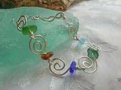 Beach Glass Bracelet Beach Glass Wire by LakeGemsBeachGlass