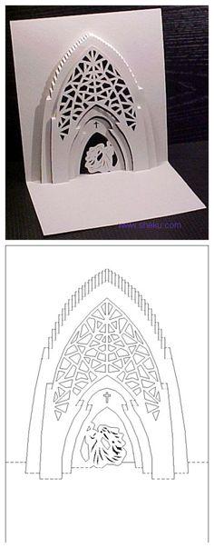 Kirigami pop up church card template Kirigami Templates, Pop Up Card Templates, Origami And Kirigami, Origami Paper, Templates Free, Paper Pop, Diy Paper, Pop Up Art, Paper Engineering