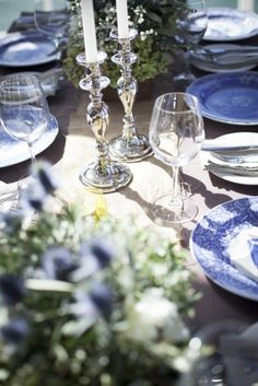 IGBY blue and white wedding table centrepiece and silver candle sticks