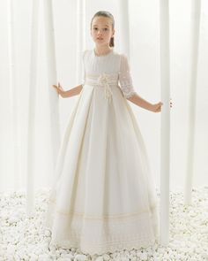 2016 First Communion Dresses For Girls Smooth Satin Ball Gown Flower Girl Dresses For Weddings,Girls Pageant Dresses Evening Gowns With Sleeves Flower Girls, Grey Flower Girl Dress, Princess Flower Girl Dresses, Girls Pageant Dresses, Gowns For Girls, Party Dresses, Little Girl Gowns, Holy Communion Dresses, Cheap Gowns
