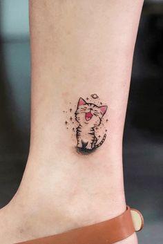 Tatuajes de gatos 3 Tiny Tattoos For Girls, Small Tattoos, Tattoos For Women, Tattoos For Guys, Skull Tatto, Neck Tatto, Form Tattoo, Shape Tattoo, Sister Tatto