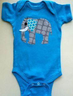 baby onesie blue with elephant by KIKIfunshop on Etsy, $14.00