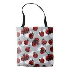 Ladybug Cloud Sky Ladybird Bug Insect Red Black Tote Bag - red gifts color style cyo diy personalize unique