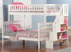 ATLANTIC WOODLAND WHITE STAIRCASE TWIN OVER FULL BUNK BED