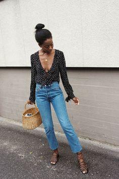 womens street style | denim | blouse | straw bag