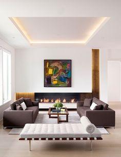 salon moderne et éclairage LED indirect