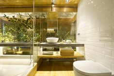 Interior Ideas, Glass Walled Bathroom Modern Design Equipped Faucet And Wash Bowl Hunging Toilets Lighting On Ceilings: Industrial Home with Interior Planting and Transparent Walls