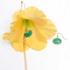 Yellow Gladiola and Chrysoprase Earrings