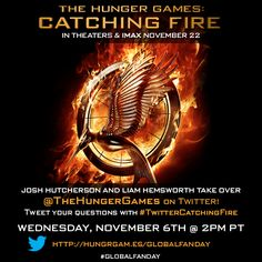 Peeta & Gale take over Twitter! #JoshHutcherson and #LiamHemsworth answer your questions LIVE on 11/6 at 2pm PT on TheHungerGames Twitter account! Tweet your questions with #TwitterCatchingFire now & follow TheHungerGames now: https://twitter.com/TheHungerGames/