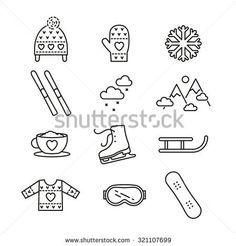 Vector linear winter activities icon set