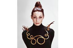 Alexander Calder 'The Jealous Husband' necklace worn by Angelica Houston, photographed by Evelyn Hofer (1940)