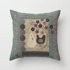 The Cat and The Hen Throw Pillow by Lynette Anderson Designs - $20.00