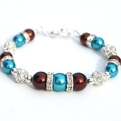Turquoise and Chocolate Brown Pearl Rhinestone Bracelet, Fall Wedding, Bridesmaid Gifts.