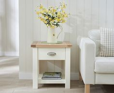 Sandringham Oak & Cream Lamp Table
