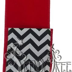 """Two Sided Ribbon - Velvet and Chevron Size: 2.5"""" width; 10 yards length Color: Red, Black, White Wire Edge Material: Synthetic Red velvet on one side, black and white chevron on the other"""