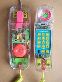 Transparent Neon Phone from the 80s and 90s. I used to have this phone when I was in junior high. LOL! I wish I still had it today.