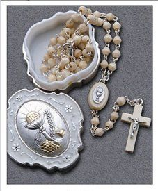 First Communion Rosary with Metal Chalice Rosary Box.
