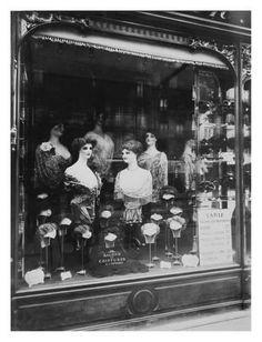 Art Print: Paris, 1912 - Hairdresser's Shop Window, boulevard de Strasbourg by Eugene Atget : 32x24in