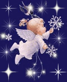 Baby angel with snowflakes. Christmas Images, Christmas Angels, Christmas Art, All Things Christmas, Vintage Christmas, Angel Images, Angel Pictures, I Believe In Angels, Angels Among Us