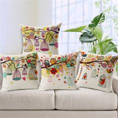 Nordic Small Fresh Bird Cage Cushion Cover Garden Tree Print Pillow Case Office Home Sofa Car Decoration Linen Pillow Cases Replacement Patio Cushion Diy Pillows, Linen Pillows, Cushions On Sofa, Sofa Chair, Crochet Pillow Cases, Throw Pillow Cases, Throw Pillows, Cushion Cover Designs, Cushion Covers
