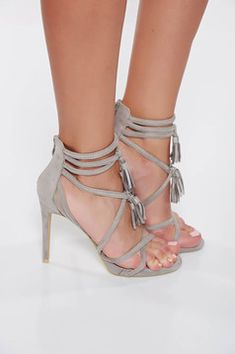 Sandale gri cu toc inalt din piele ecologica intoarsa cu bretele Valentino, Interior, Shoes, Fashion, Tulle, Moda, Zapatos, Indoor, Shoes Outlet