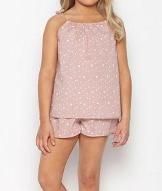 Pijama niña corto estrellitas rosa | Nicoli